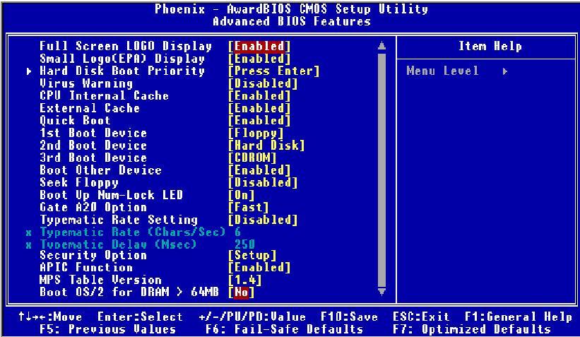 Advanced BIOS Settings