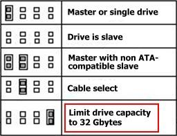 Hard Drive Jumper Settings