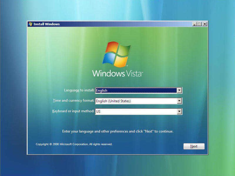 Install Windows Vista Screen 1