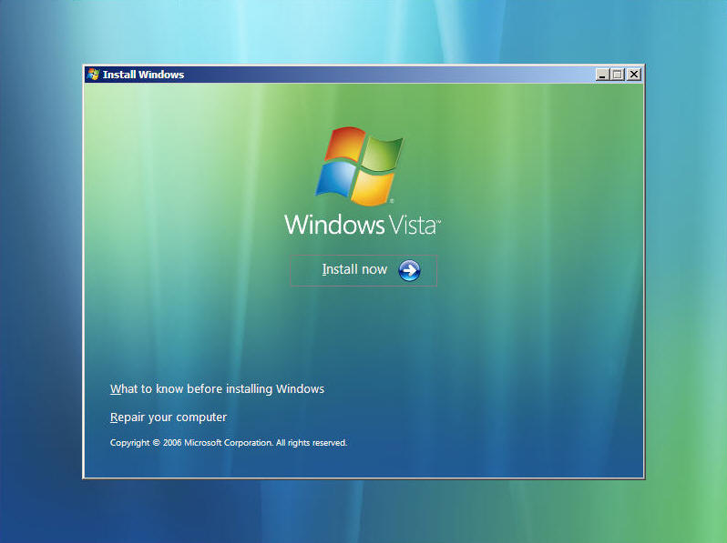 Install Windows Vista Screen 2