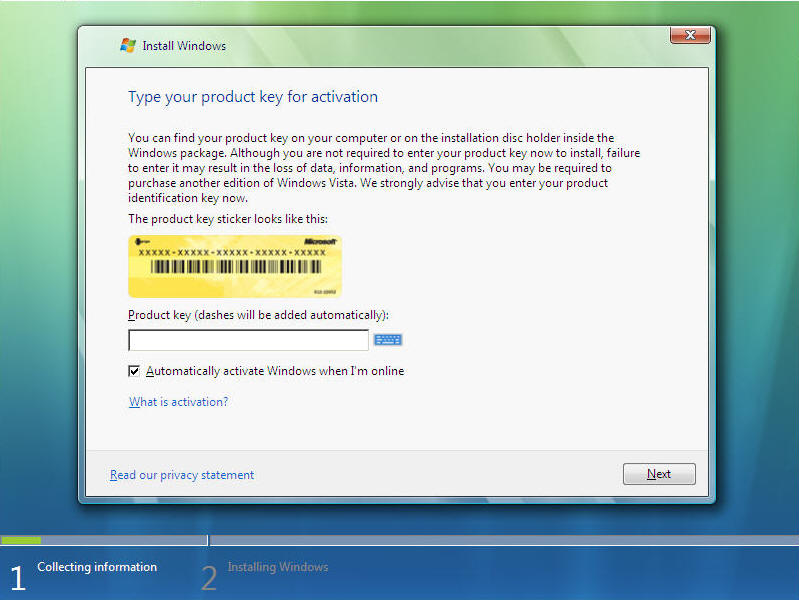 Install Windows Vista Screen 3