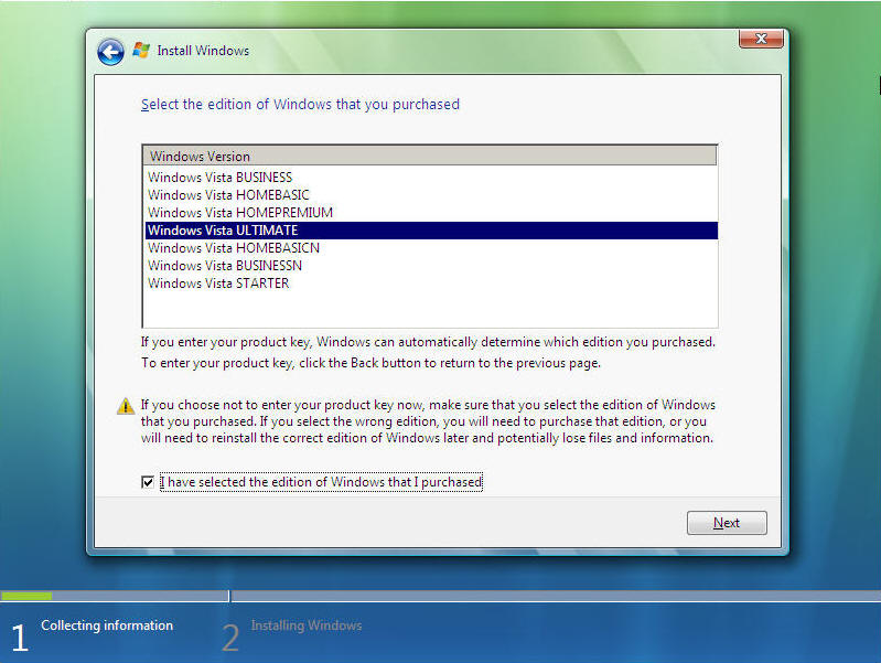Install Windows Vista Screen 5