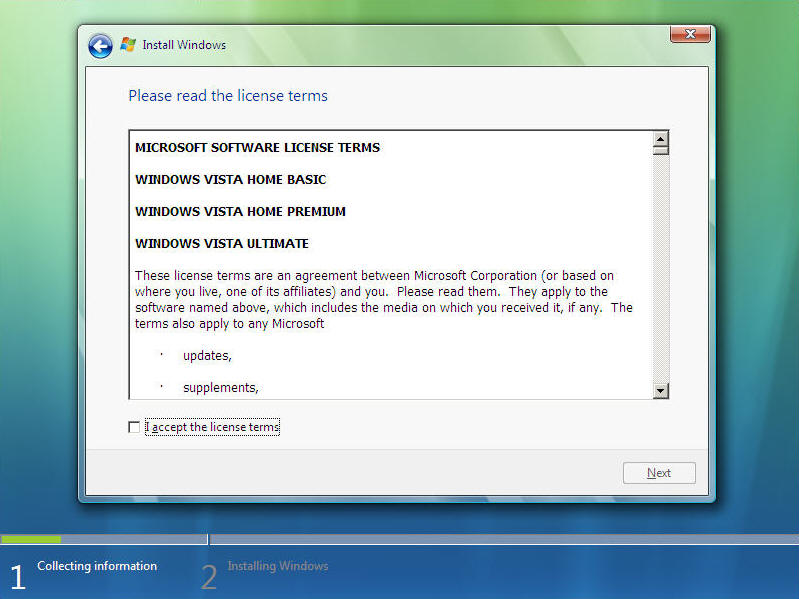 Install Windows Vista Screen 6