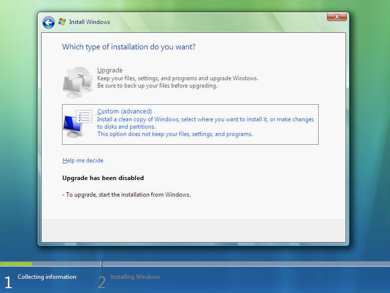 Install Windows Vista Screen 7