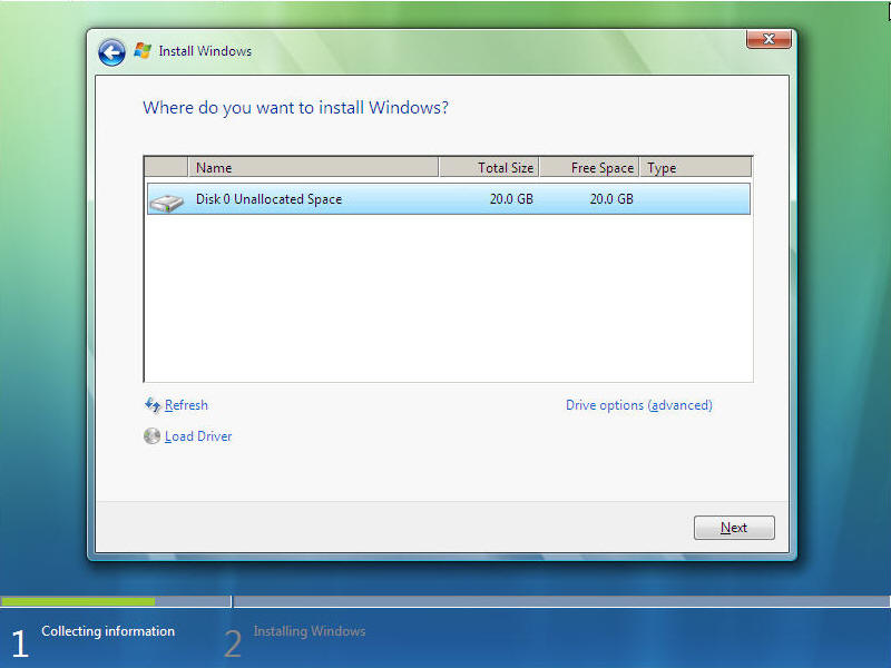 Install Windows Vista Screen 8