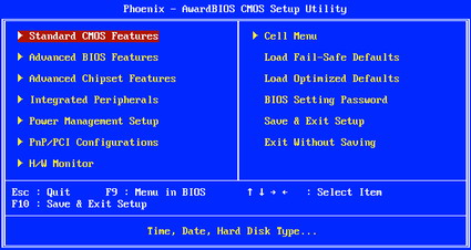 BIOS Main Screen